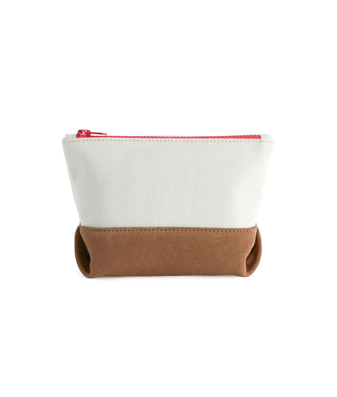 Canvas & Suede Small Zip Pouch