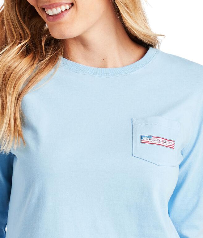 Long-Sleeve USA Logo Box Fill Pocket Tee