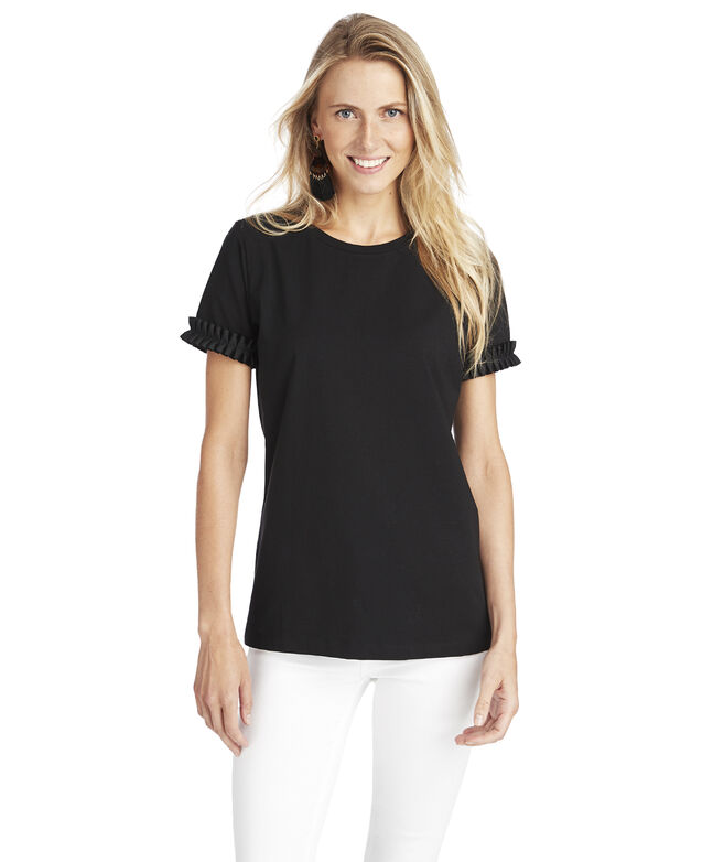 Short-Sleeve Pleated Grosgrain Tee