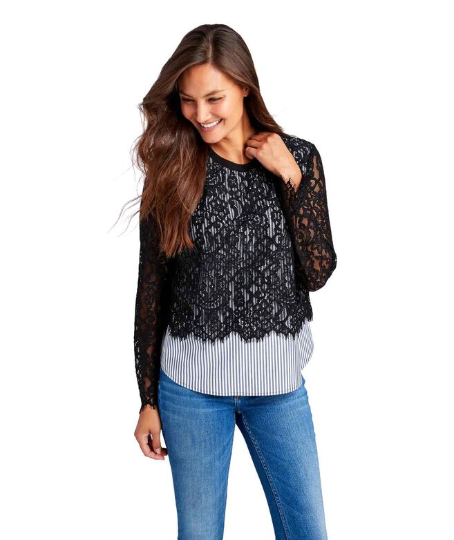 Soltice Stripe Lace Top