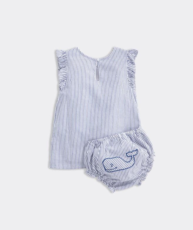 Baby Sparkler Stripe Embroidered Dress Set