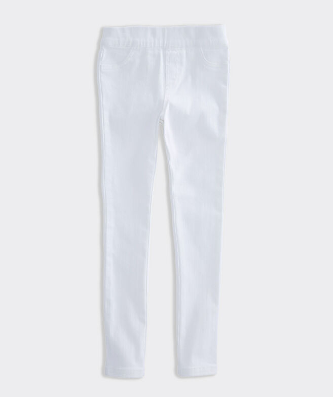 Girls' White Denim Leggings