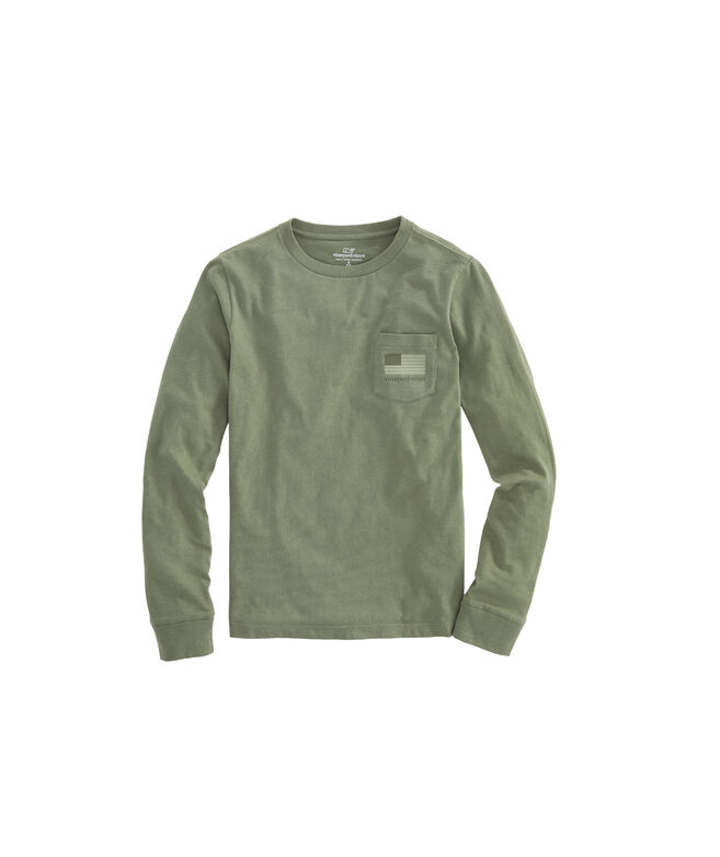 Boys Tonal Flag Long-Sleeve Pocket T-Shirt