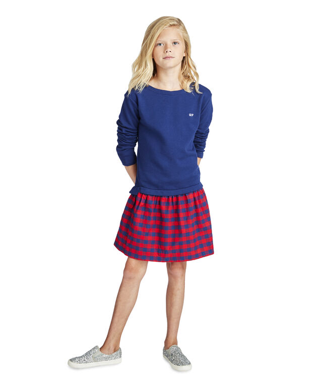 Girls Mixed-Media Sweatshirt Dress