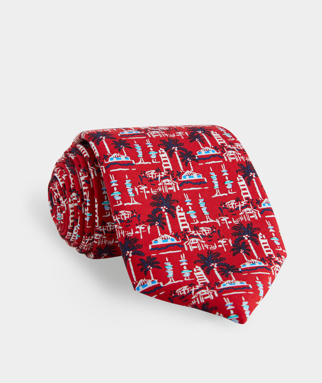 Bahamas Lighthouse Scenic Printed Tie
