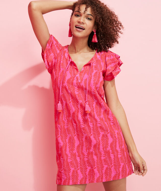 Embroidered Palm Vineyard Tunic Dress