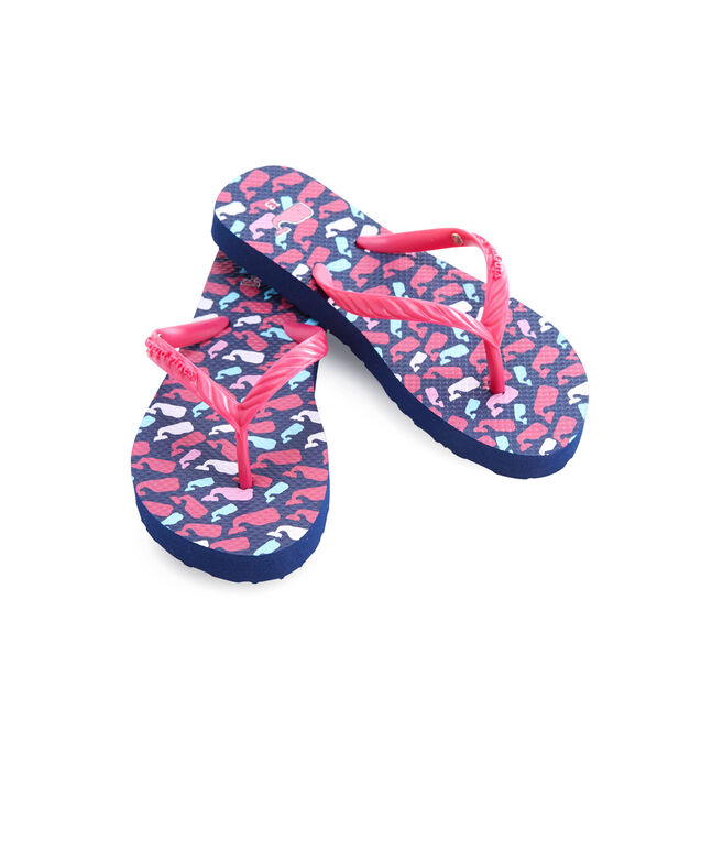 Girls Scattered Whales Print Flip Flops