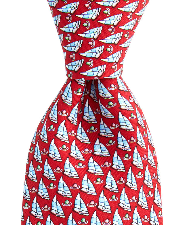 Sailboat With Buoy Printed Tie