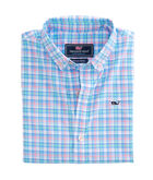 Boys Sheltered Cove Plaid Performance Whale Shirt