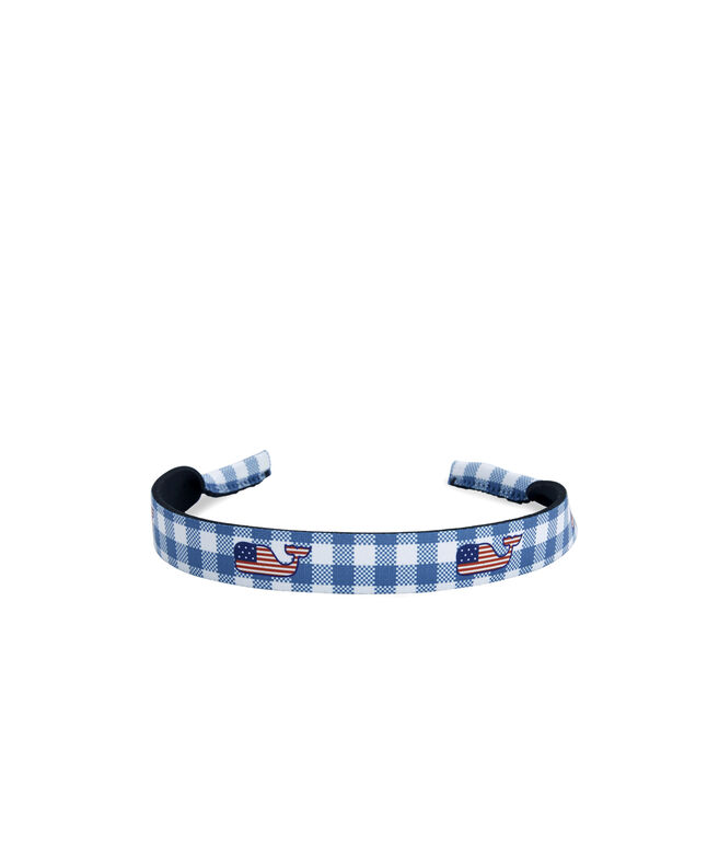 Gingham with Flag Whale Croakies