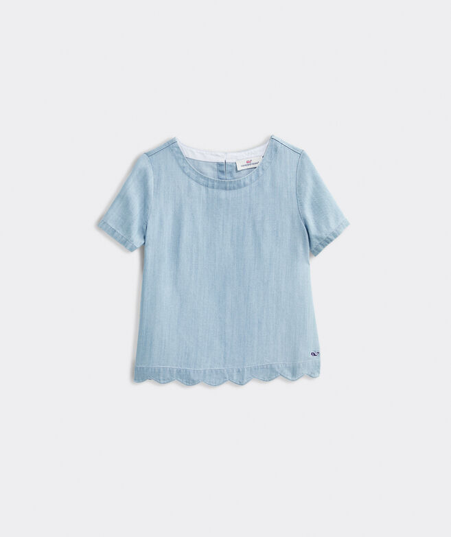 Girls' Chambray Scallop Top