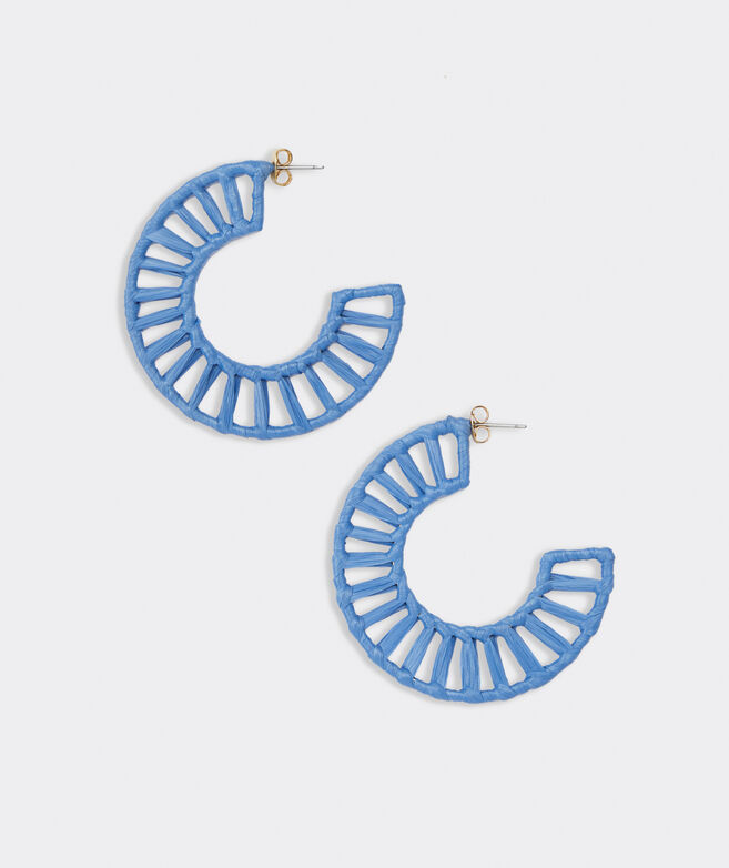 Raffia Wrapped Lattice Hoop Earrings