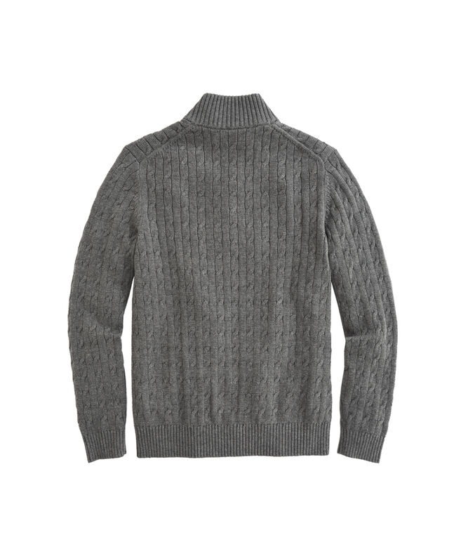 OUTLET Boy's Cable Knit Suede Placket 1/4 Zip