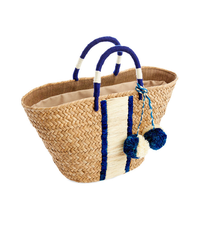 Kayu Striped Straw Basket Bag