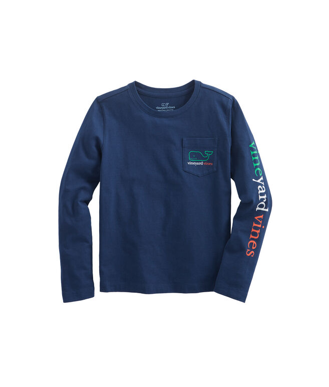 Girls Long-Sleeve St. Patrick's Day Whale Pocket Tee