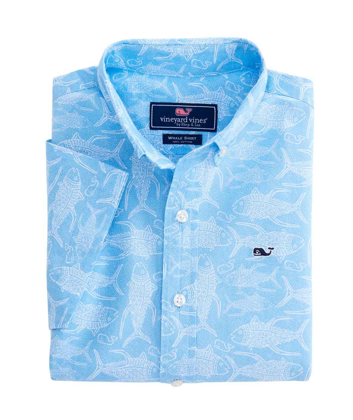 Shop boys short sleeve tuna batik woven shirt at vineyard for Vineyard vines fishing shirt