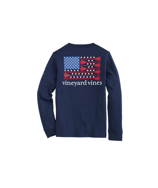 Boys Long-Sleeve Lacrosse Flag Pocket T-Shirt
