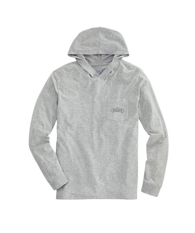Football Laces Long-Sleeve Hoodie Pocket T-Shirt