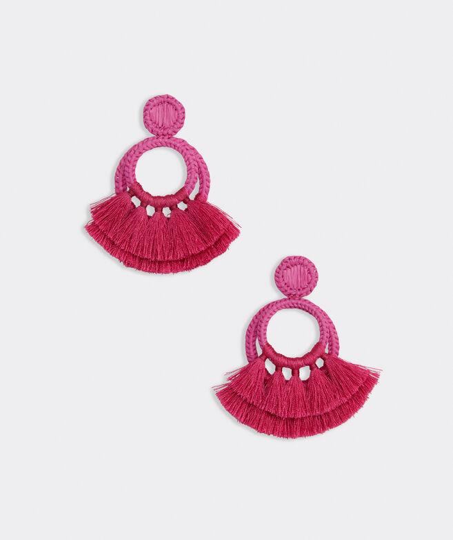 Raffia Tassel Hoop Earrings