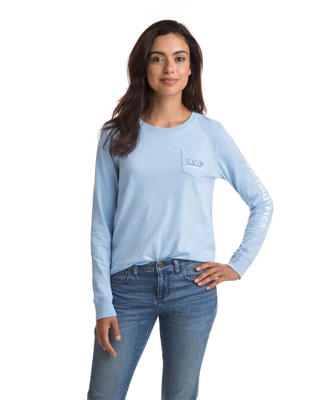 Long-Sleeve Hanukkah Whale Pocket Tee
