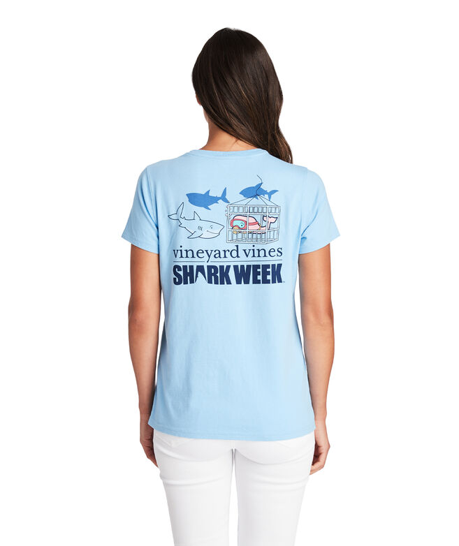 Shark Week Women's Cage Diver Whale Pocket Tee