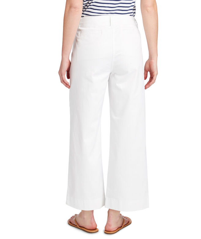 High Waist Cropped Chino Pants