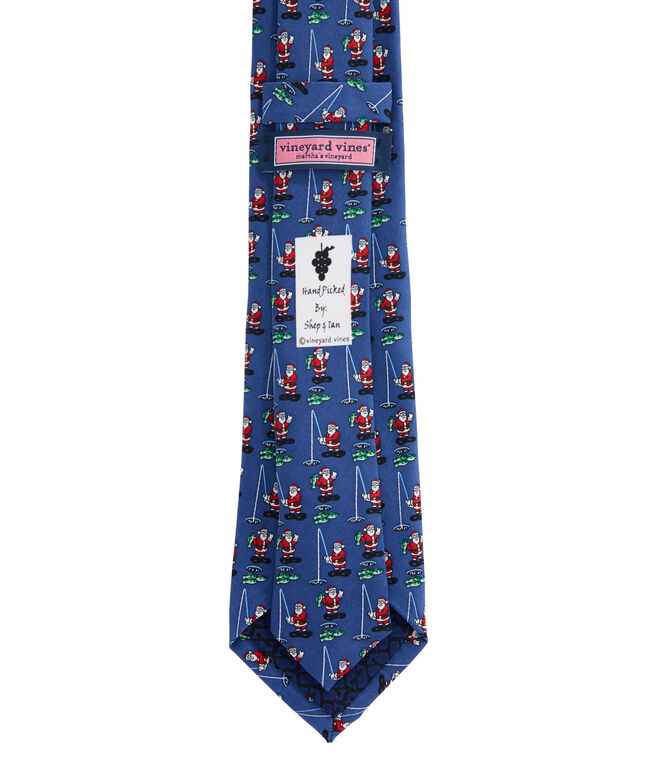 Boys Ice Fishing Santa Tie
