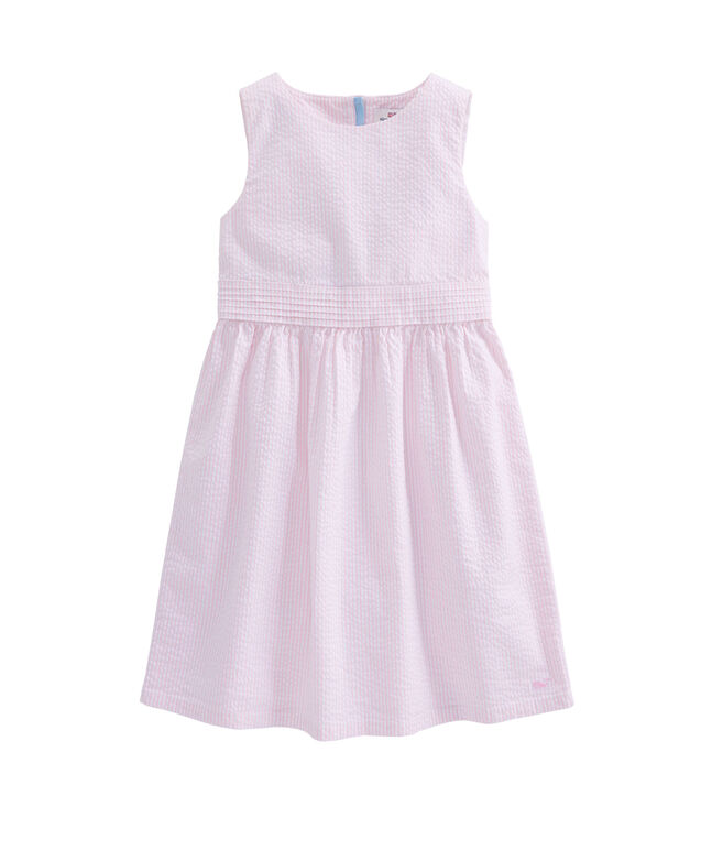Girls Seersucker Bow Dress