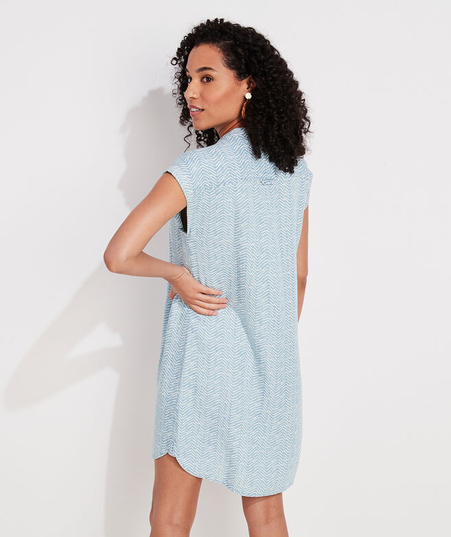Printed Chambray Dolman Sleeve Margo Shirt Dress