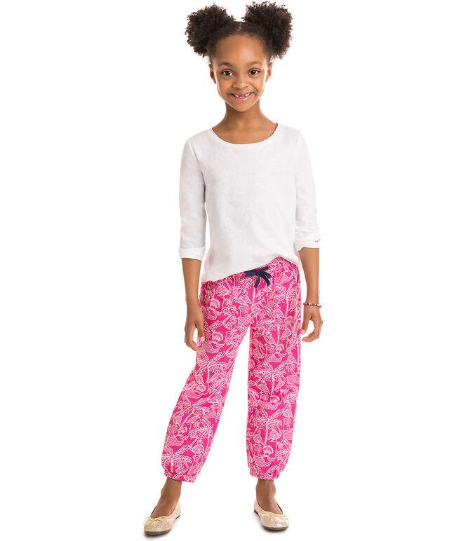 Girls Flamingo Print Pull On Pants
