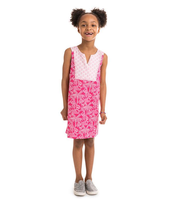 Girls Flamingo Print Shift Dress