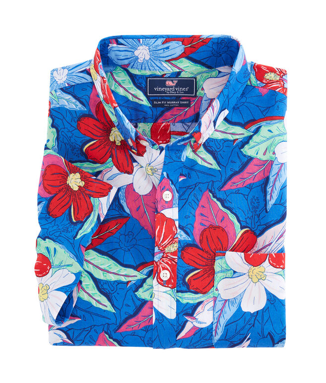 Short-Sleeve Beach Floral Slim Murray Shirt
