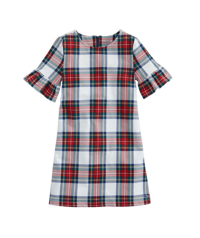 Girls Plaid Bell Sleeve Holiday Dress