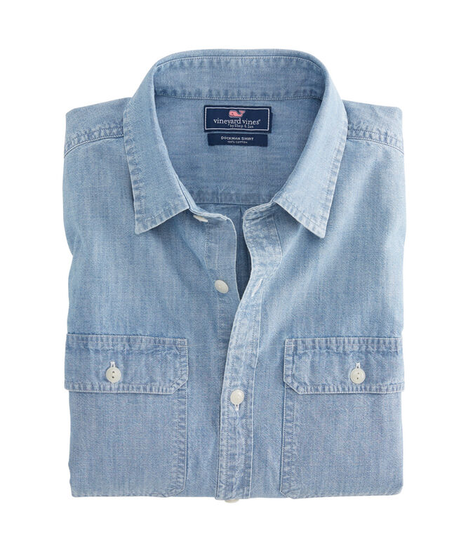 Sea Breeze Solid Classic Dockman Shirt