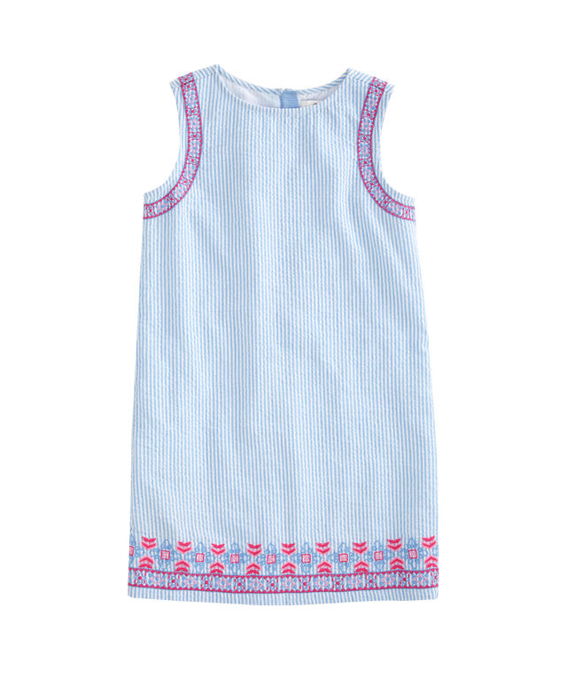 Girls Embroidered Seersucker Shift Dress