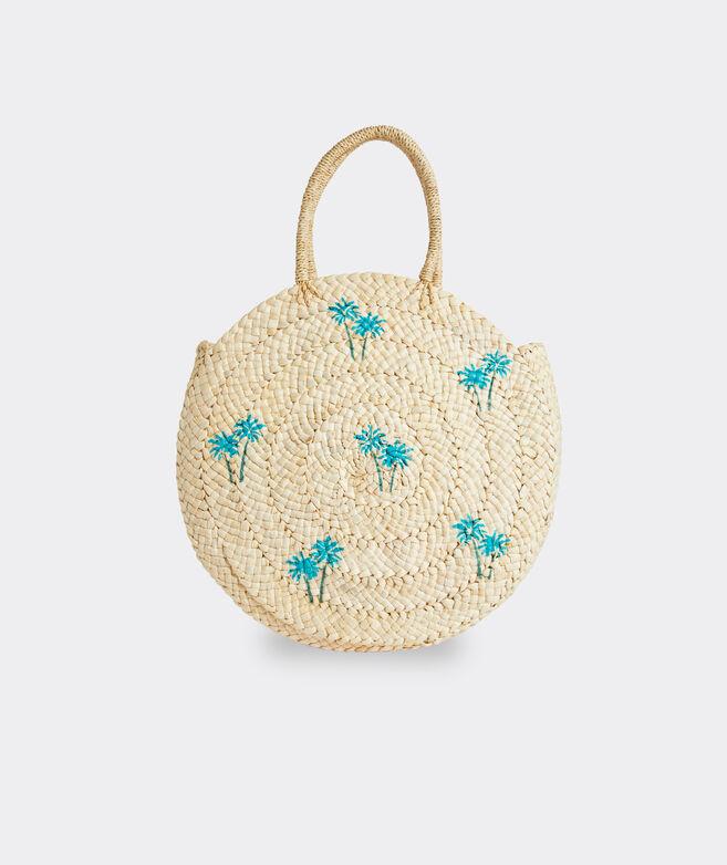 Printed Palm Straw Circle Tote Bag