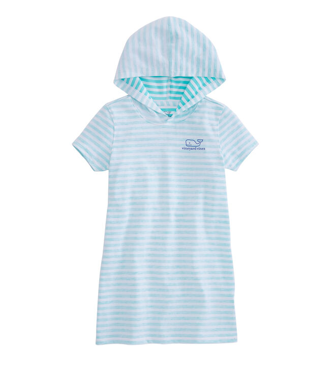 Girls Short-Sleeve Feeder Stripe Whale Hoodie Cover-Up