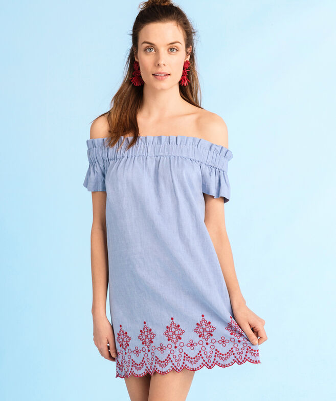Off The Shoulder Embroidered Oxford Dress