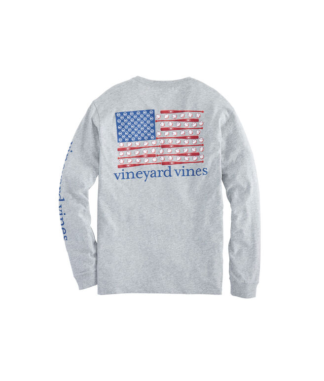 Long-Sleeve Baseball Flag Pocket Tee