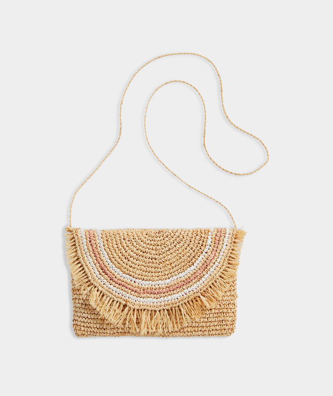 Crochet Straw Striped Clutch