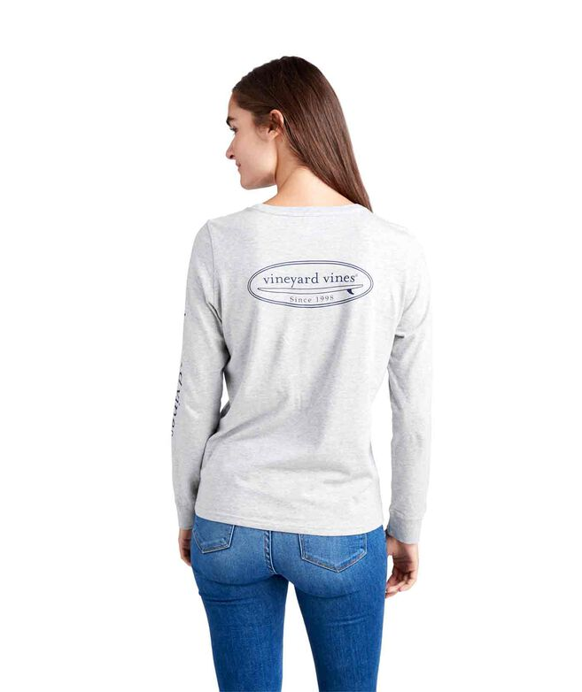 Long-Sleeve Outlined Surfboard Logo Pocket Tee