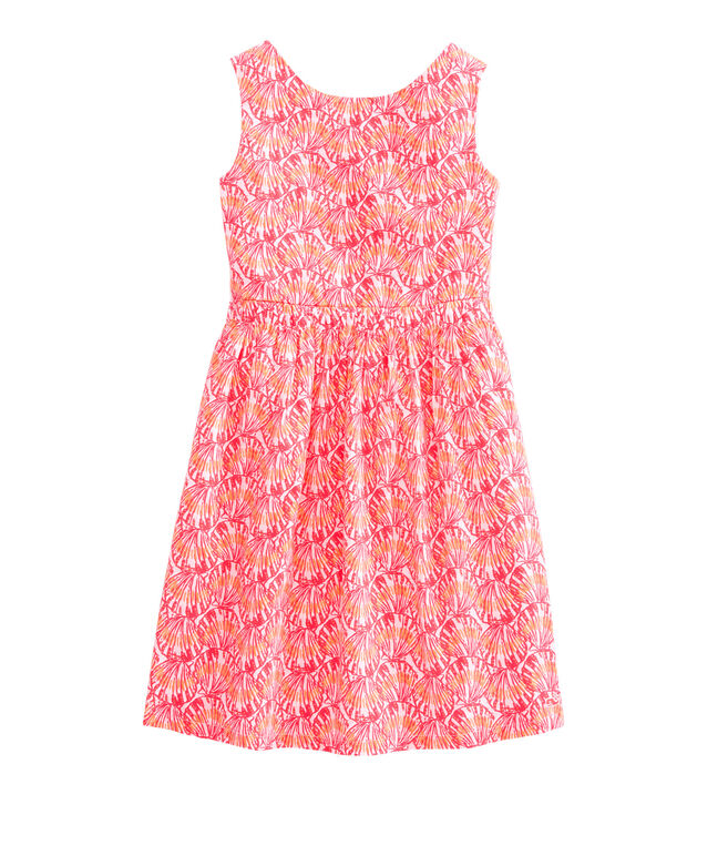 Girls Shell Print Tie Back Dress