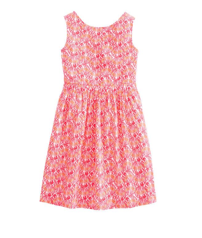 Girls Shell Print Tie Back Dress