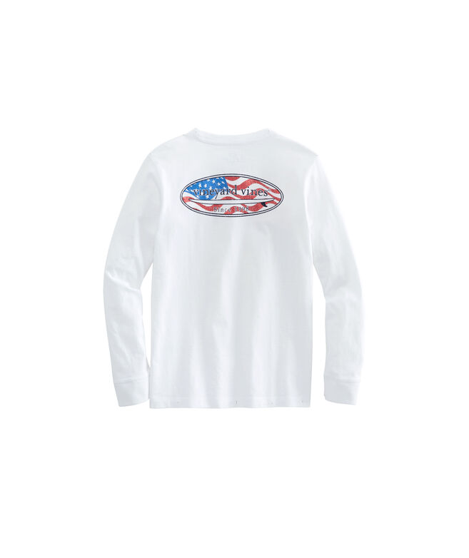 Boys Long-Sleeve USA Surf Logo Pocket T-Shirt
