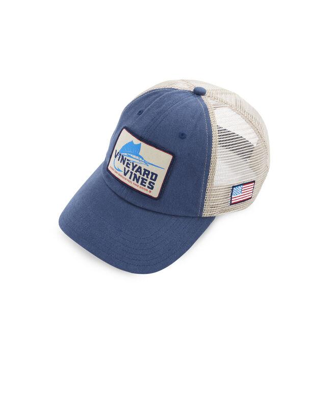 ad6c9a3c44a Shop Sailfish Hook Patch Trucker Hat at vineyard vines