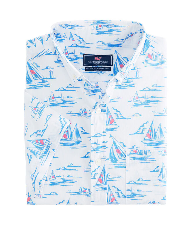 Short-Sleeve Sailing Scene Classic Murray Shirt