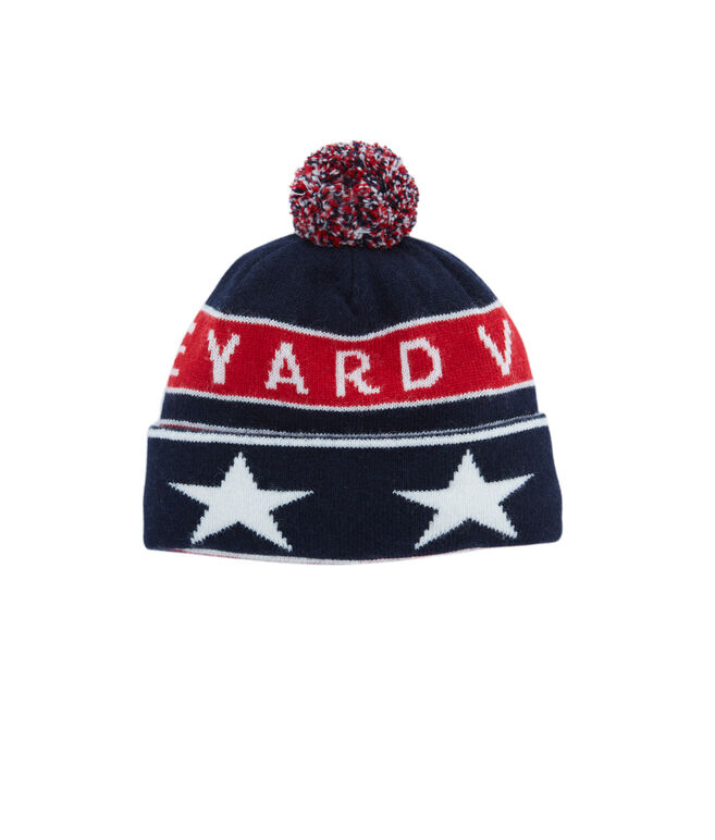Boys Red, White & Blue Knit Hat