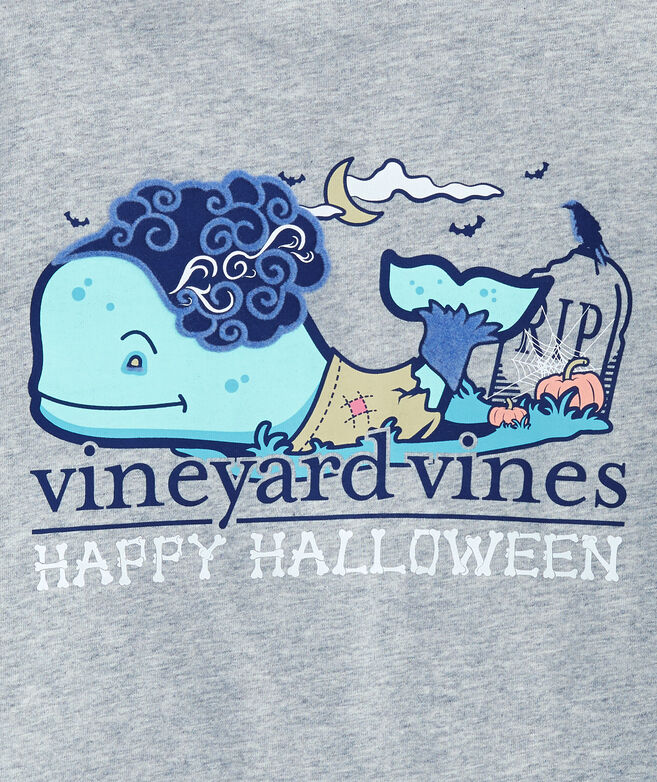 Girls Halloween Zombie Whale Long-Sleeve Pocket Tee