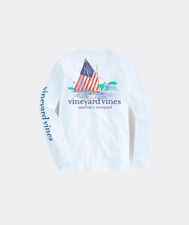 Women's Limited-Edition USA Catboat Painted Scene Long-Sleeve Pocket Tee