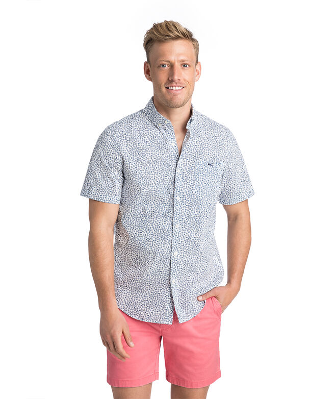 Short-Sleeve Fish Dash Slim Tucker Shirt